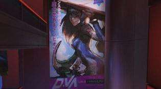 Hana D.Va en affiche dans Overwatch