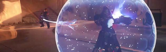 Une sphère protectrice englobe le joueur allié grâce à Zarya