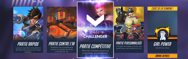 Menu des parties compétitives dans Overwatch