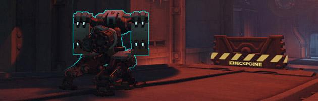 Bastion se transforme et devient une machine à mitrailler devant lui