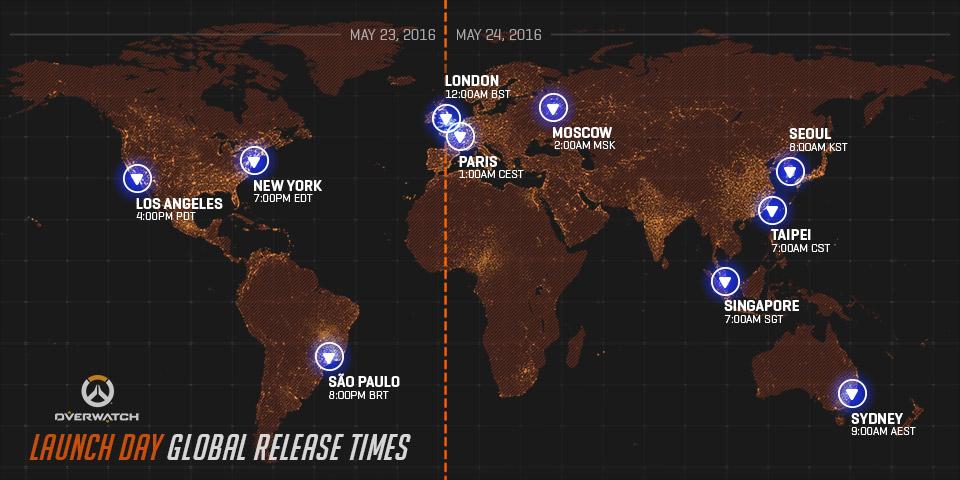 La carte des heures de lancement d'Overwatch dans le monde !