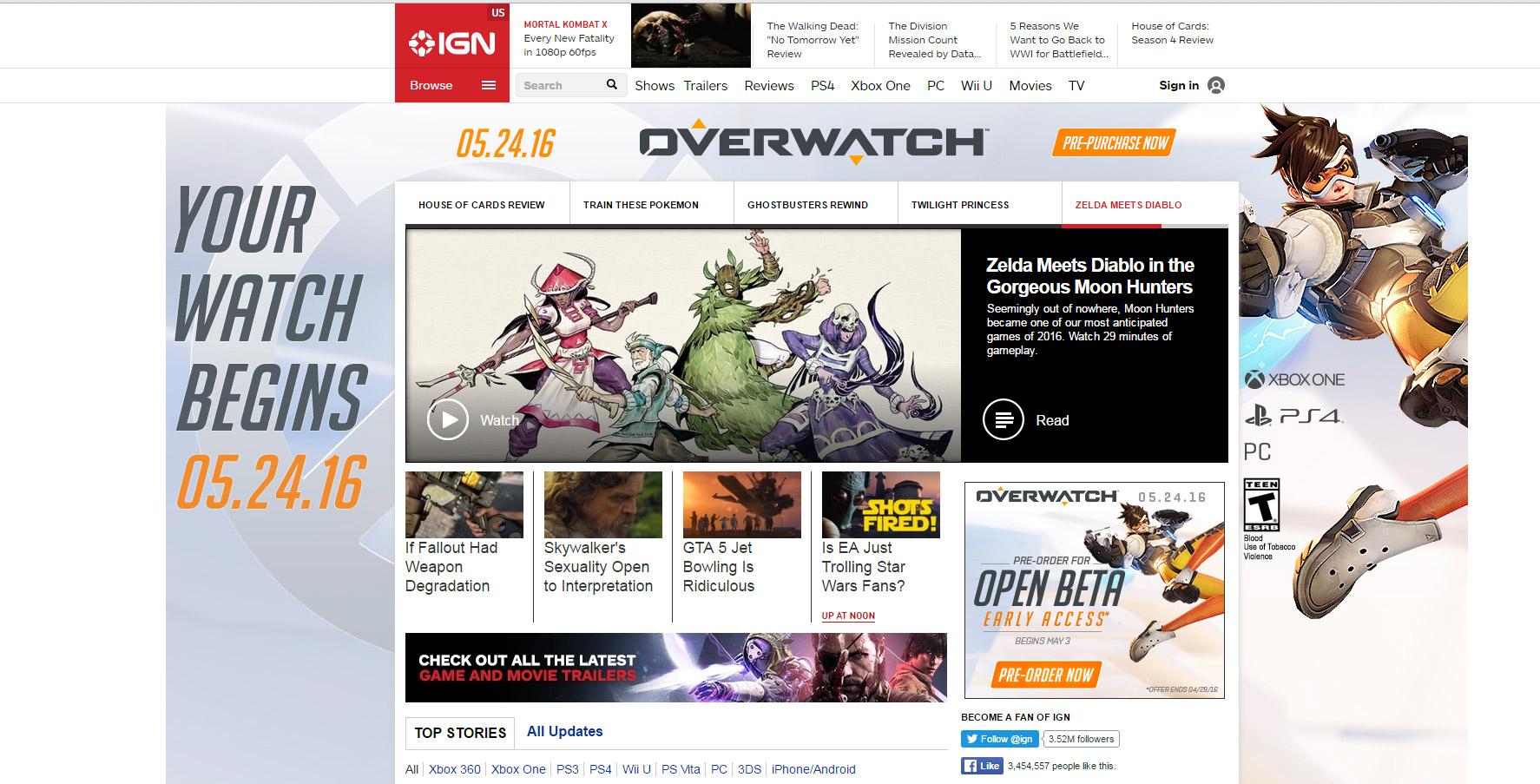 Capture d'écran de la publicité Overwatch sur le site IGN !