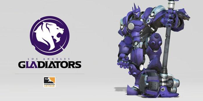 Le logo de Los Angeles Gladiators et la couleur du skin héros associé