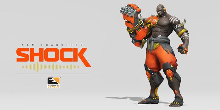 Logo de l'équipe San Francisco Shock et un skin de Doomfist
