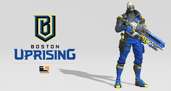 overwatch league : presentation du logo de l'equipe boston uprising et skin de soldat 76