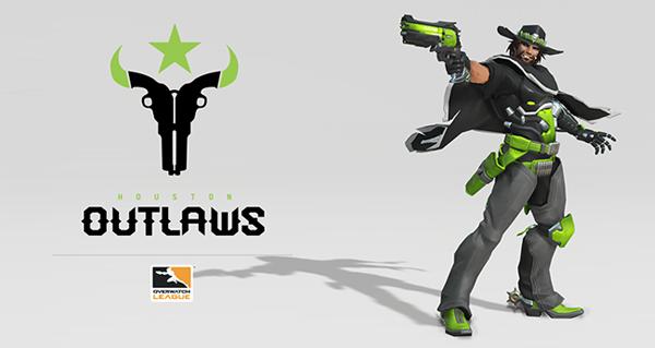 overwatch league : logo houston outlaws et skin mccree