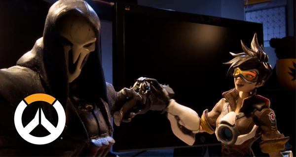 anniversaire d'overwatch : la video en stop-motion de tracer et faucheur