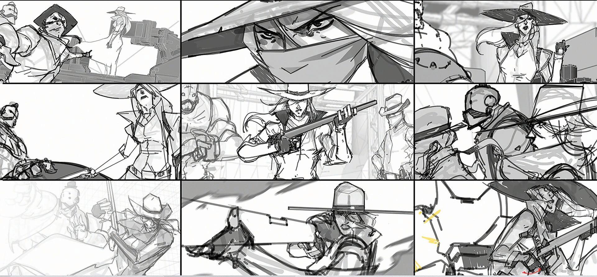 Story board de Ashe le nouveau héros Overwatch