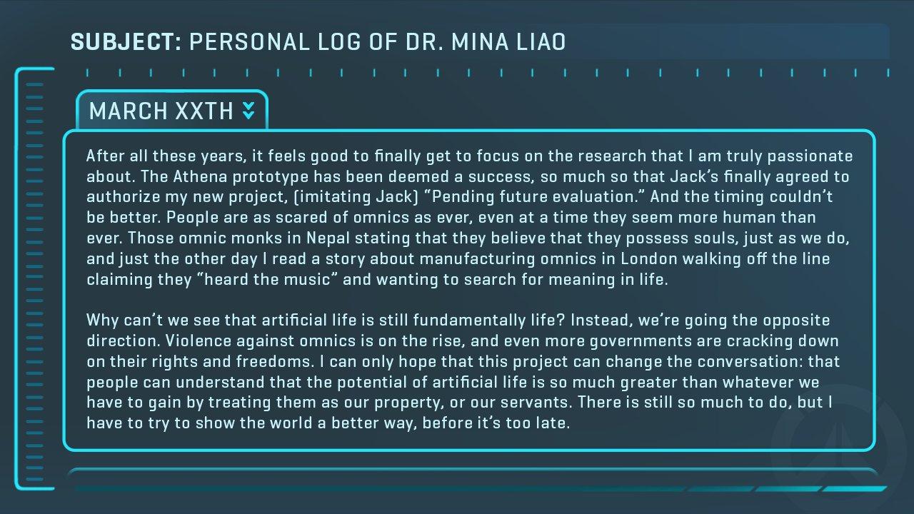 Teasing Overwatch : Message du Dr Mina Liao