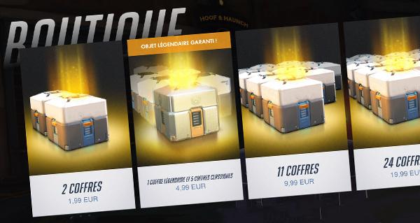 overwatch : lot d'un coffre legendaire et 5 coffres classiques en boutique