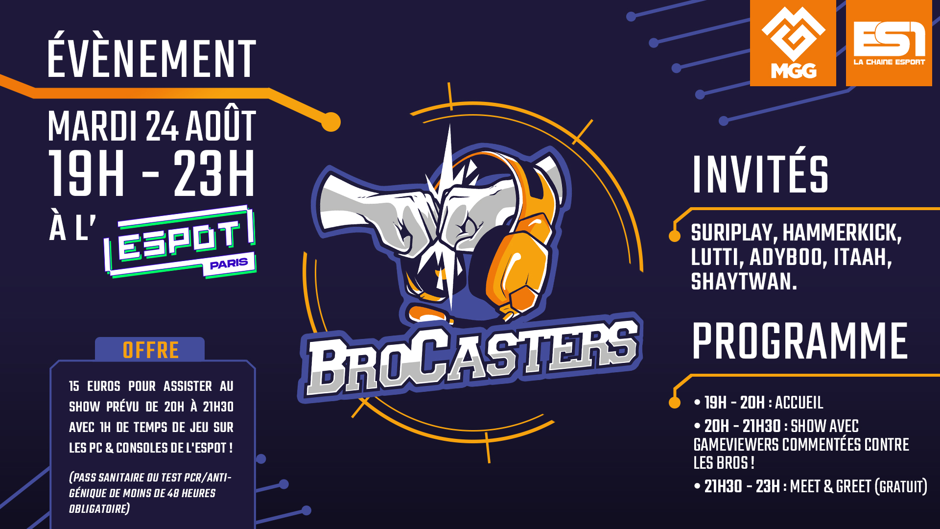 Programme de l'événement Overwatch avec les Brocasters, le 24 août 2021 (affiche réalisée par Aksellie)